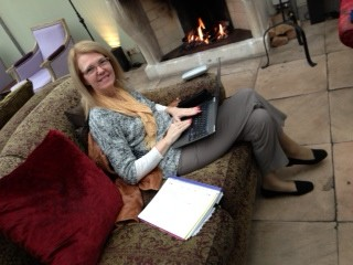 photo working by the fire