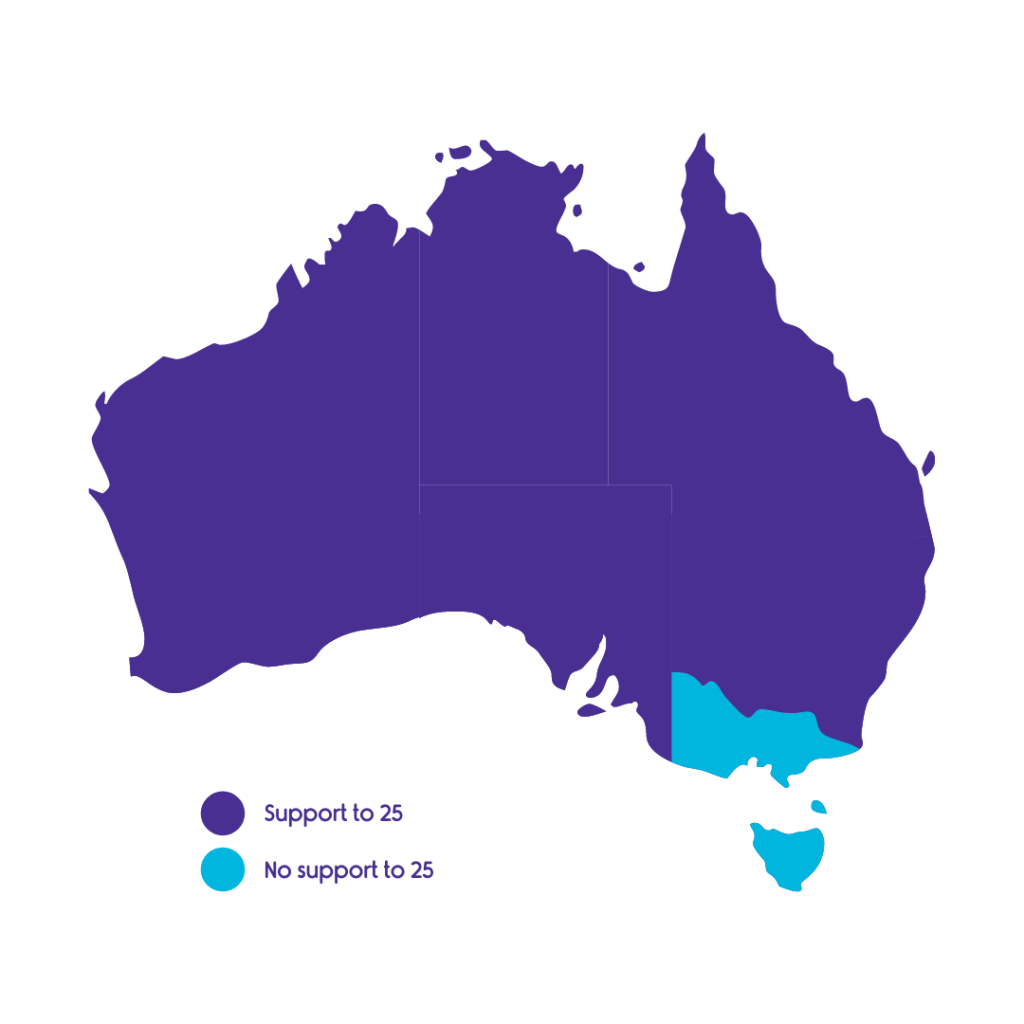 Map of Australia showing states which have support to 25